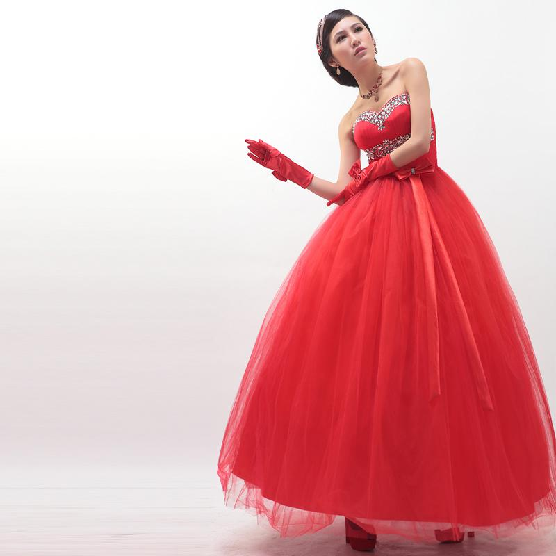 Luxury rhinestone red sweetheart tube top red wedding dress bandage