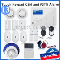 Wireless Yes GSM 850/900/1800/1900MHz + PSTN Touch Keypad LCD GSM + PSTN Wireless Home Office Security Burglar Alarm System Fire Alarm w Enable Disable Anti-Temper, iHome328GPB13