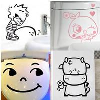 Wholesale Novelty cartoon funny glass tile bathroom toilet sticker waterproof sticker mix order