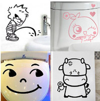 Wholesale Brand new Novelty cartoon funny glass tile bathroom toilet sticker waterproof sticker mix order