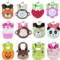 multi-color Animal Feed - Cartoon Towel Baby Bibs layer waterproof baby Feeding Animal Button bibs infant baby boy girl burp cloths B973