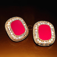 Wholesale charming pink black diamond Crystal Earrings cm
