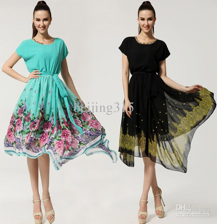 Summer Dress 2015 Plus Size Women Lace Collar Chiffon Floral Print ...