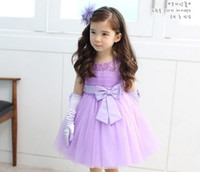 Summer A-Line Knee-Length Flower girls purple dress sleeveless bowknot color bead beautiful baby girls birthday wedding evening party dress children dresses FS147