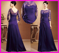 Wholesale Vintage Purple Lace Long Sleeves Chiffon Mother of the Bride Dresses Gowns M1560