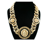 Wholesale Women Gold Black Three Lion Head Chunky Chain Link Necklace Rihanna Celebrity Jewelry
