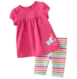 Wholesale Jumping beans stripe girls clothing sets children s suits t shirts short sleeve baby suits girl blouse t shirt kids tshirt M1677