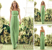 Reference Images Strapless Empire Empire Waist Floor Length Pencil Chiffon Lime Green Bridesmaid Dress Free shipping-MOR