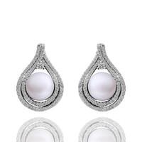 Wholesale High Quality Pearl Earrings Hot Sale Platinum Plated Zircon Earrings Jewelry PLE029