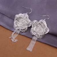 Wholesale Sterling silver plated big flowers earrings jewelry E275