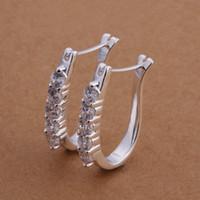 Dangle & Chandelier Silver Mexican Wholesale - -Free shipping 925 Sterling silver plated U shape earrings jewelry gem zircon E312