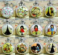 Wholesale Hot fashion watch Bird Birdcage girl Eiffel Tower pocket watch necklace