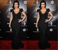 Reference Images V-Neck Lace Free shipping sexy fashion Kim Kardashian Black Lace Mermaid Capped Sleeves Deep V-neck Celebrity Evening Dress