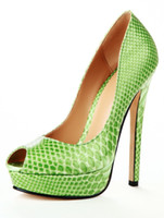 Wholesale Sweet Light Green Snake Print High Heel Women s Peep Toe Shoes u5 Ys