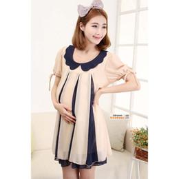 Wholesale Loose women striped dress code Doll collar shiffon summer one piece dress pregnant dress Maternity wear