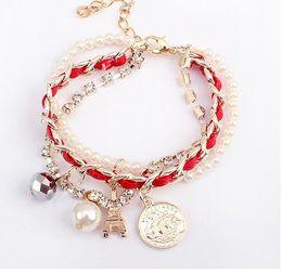 Fashion Girls Bracelets Multi-flash diamond bracelet woven pearl pyramid018