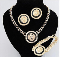 Wholesale Hot Fashion K gold enamel lion head Necklace Stud Earrings Bracelet Jewelry sets