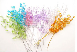 Wholesale 500pcs acrylic crystal waterdrop on silver stem JEWELS Flower Spray WIRE FAVOURS wedding bouquet diy CRAFT party favor decoration wa046