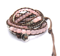 Celtic Unisex Gift Natural Pink Round Rose Quartz 6mm beads wrap bracelet new design handmade wrap immitation leather bracelet