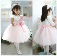Bow Tulle Knee-Length Hot Sale 2013 New Styley Pink Ball Gown Flower Girl Dress Short Sleeves Bow Kids Bady Birthday Party Gown Children Pageant Gown