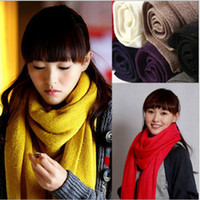 Wholesale lady Winter Warm Knit Hood Long Shawl Cowl Neck Warmers Scarf Pashmina C0878