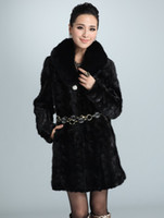 Wholesale Elegant Black Mink Fur Shaping Woman s Fur Coat dresses u7 QaM