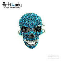 Wholesale adjustable crystal skull rings Halloween color new fashion jewelry TOP high quality Artilady
