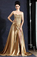 Reference Images Sweetheart Satin Noble high quality gold sweetheart evening gowns sparkling tight beaded bodice side slit A-line satin sweep train length Evening Dress GF714
