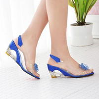 Women Wedge PU Women's Sandals PU+Plastic Cement Slope Heels Fish Mouth Rubber Bottom Flower transparent Sandals