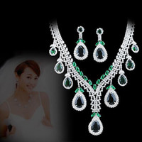 Alloy / Silver / Gold Other style Swarovski Elements Shin Kong jewelry authentic Korean crystal diamond flower pendant green luxury bridal sets of chain necklace earrings female