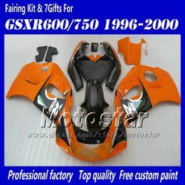 Carénages de motocycle pour 1996 1997 1998 1999 2000 suzuki GSXR600 GSXR750 GSXR 600 750 96 97 98 99 00 carton rouge orange noire brillant AC50 à partir de 98 gsxr carénage orange noir fabricateur