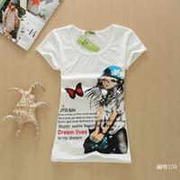 lycra t shirt - summer new cartoon Lycra cotton women s short sleeved T shirt Slim waist trend of women tee