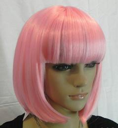 Hot Sell New Fashion Short Pink Straight Bangs Bob Women's Lady's Hair Wig Wigs