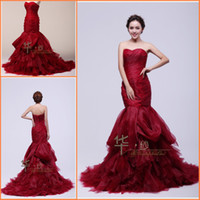 Wholesale Real Sample Fashional Dark Red Sweetheart Mermaid Court Train Special Ruffles Amazing Graceful Bridal Dresses for Wedding On sale