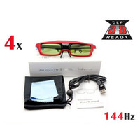 Wholesale 4PCS Red D Active Shutter Glasses For BenQ Optoma View Sonic DLP Link Projector TV