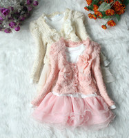 Wholesale 2013 Spring and Autumn new winter girls lace Two Piece children s clothing baby beige pink tutu Dresses flower pearl chain
