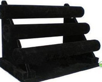 Wholesale New Black Tier Velvet Watch Bracelet Jewelry display Holder Stand Rack Retail sz11r