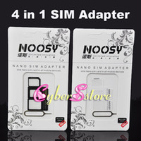 Wholesale 4 In Nano Micro SIM Standard Adapter Eject Pin For Iphone For Iphone S With SIM Card Retail Package