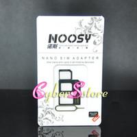 al por mayor tarjeta sim micro nano-4 en 1 adaptador SIM Noosy Nano Micro Eject Pin para Iphone 5 para Iphone 4 4S 6 tarjeta SIM caja al por menor de Samsung