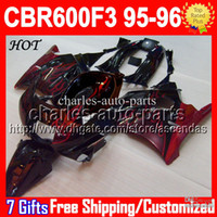 Wholesale 7gifts Tank NEW HOT For HONDA CBR600F3 CBR F3 CMF1765 Red flames black CBR600 F3 FS HOT CBR F3 Fairings