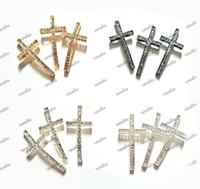 Wholesale 25pcs Cross Accessories Rhinestone Sideways Cross Bracelet Connectors Fit Bracelets Jewelry DIY Colors