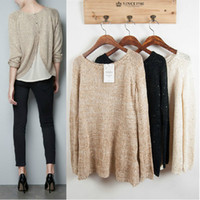 Wholesale Autumn and winter sequined behind Button split knitted sweater knitted