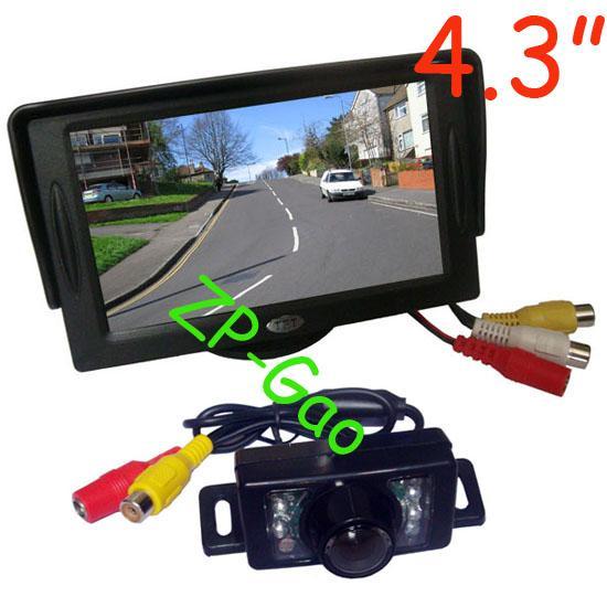 """4.3 """" автомобильный ЖК-монитор + 7 ИК водонепроницаемый вид сзади автомобиля обратный резервная камера с 5 м кабель Бесплатная доставка"""