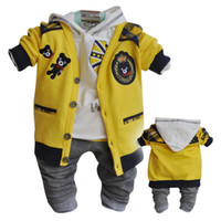 Wholesale Sping Autumn Baby Kids Clothing European Style Long Sleeve Cute Bear Cardigan Cotton Hoodies Casual Pants PC Set Boy s Suits Child Clothes