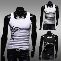 Wholesale Mens vestCasual print elastic sleeveless slim tank tops vest undershirt beer for men singlet