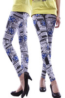 Wholesale New Fashion Sexy Women Flags Leggings Magazine Tights Graffiti Pattern Tights Styles Lady Pants Stretch Print Pants