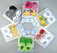 Wholesale infant cartoon animal socks stocking baby anti slip socks boots floor ankle socks M baby cotton sock slipper booties prs