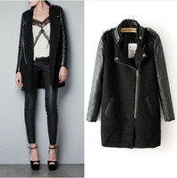 Jackets Women PU Leather New women's casual fashion PU leather sleeves stand-up collar coat jacket Overcoat 3 size