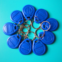 Wholesale 100pcs RFID keyfobs KHz ABS proximity key tags for access control with TK4100 EM chip