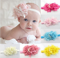 Wholesale New Baby Girl Chiffon Pearl Beaded Headband Kids Rose Satin Bow Headdress Flower Infants Hairband Children Head Wear Photography Prop